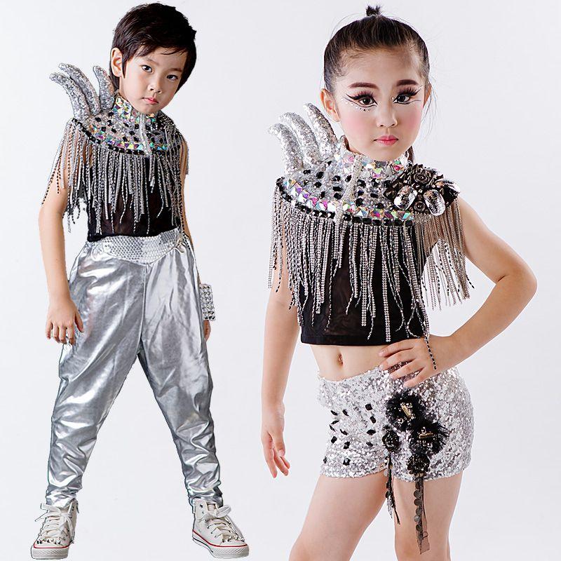 Compre Niños Lentejuela Jazz Moderno Disfraces De Baile Hip Hop Etapa  Montados Tambores Grupo Ropa Pasarela Cuernos Niños Salón De Baile Vestido  Performace ... 4424b045e74