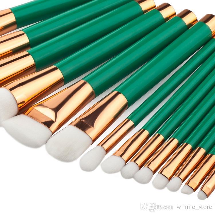 Factory Direct DHL Free! High Quality Fine Brush Makeup Brushes Set Powder Foundation Cosmetics Make Up Brush kit Tools Green Handle