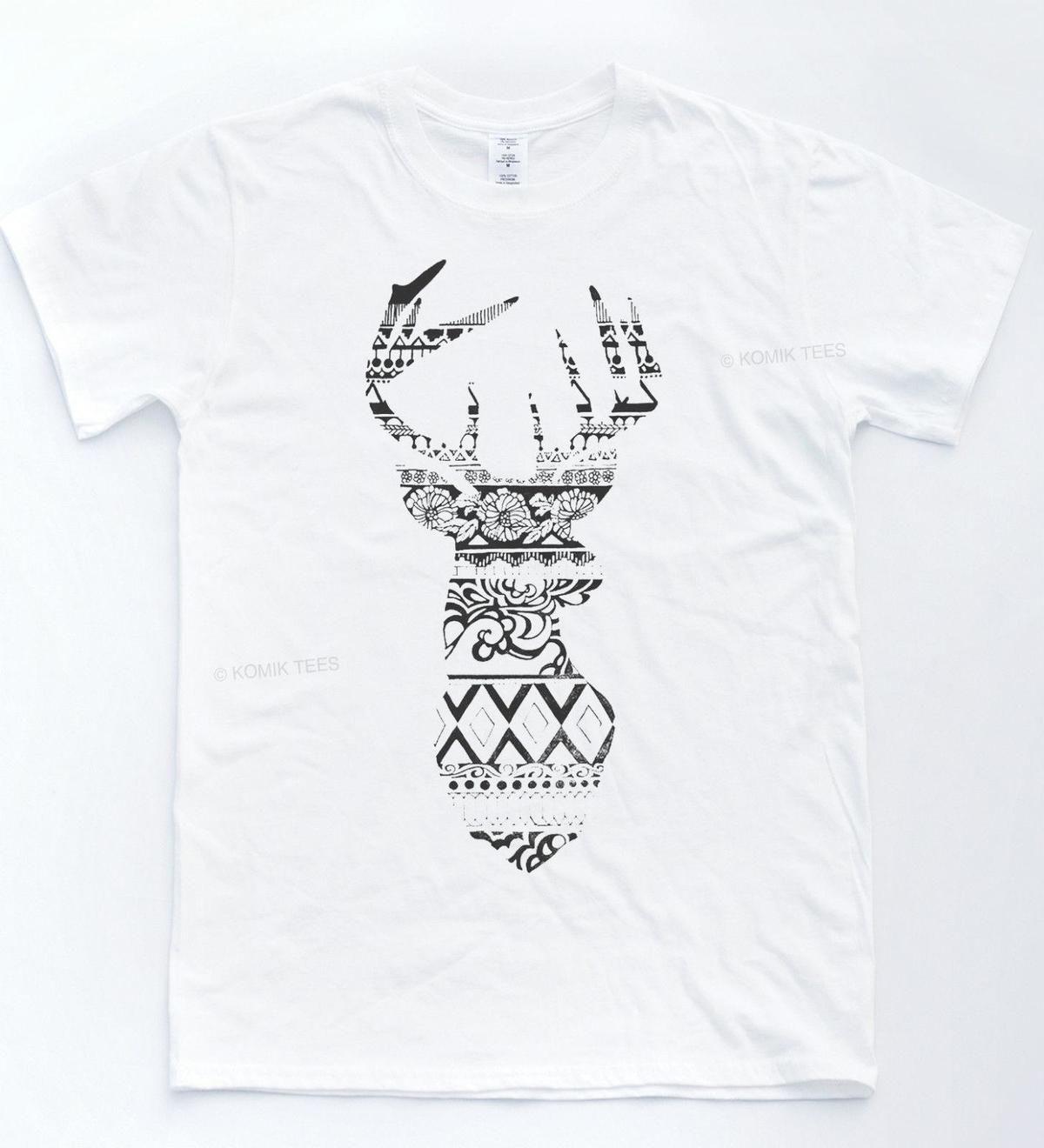 Fairisle Deer T-shirt Christmas Stag Animal Winter Tee Indie Hipster Xmas Top top free shipping t-shirt