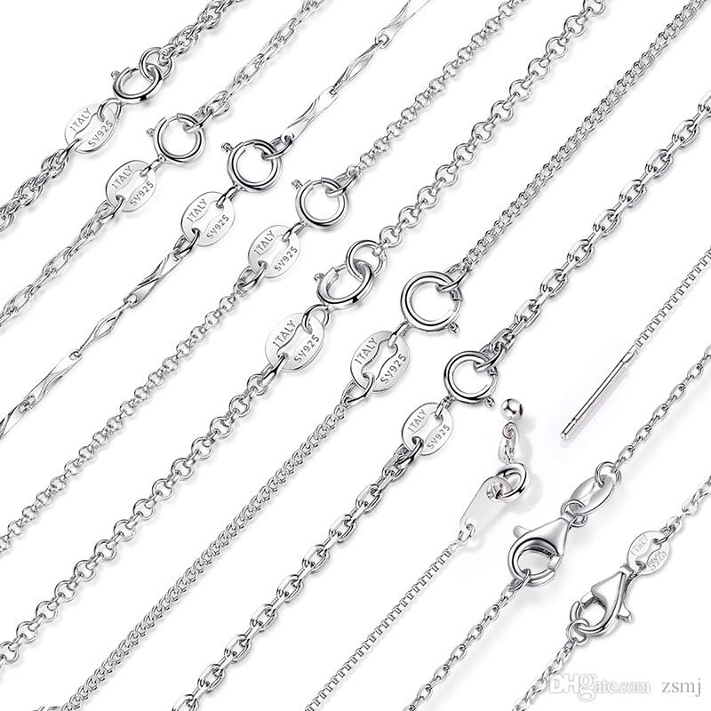 7 Fashion Styles 925 Sterling Silver Necklaces 18inch DIY Jewelry Box Snake Links Basic Chains 0.7-1.5mm