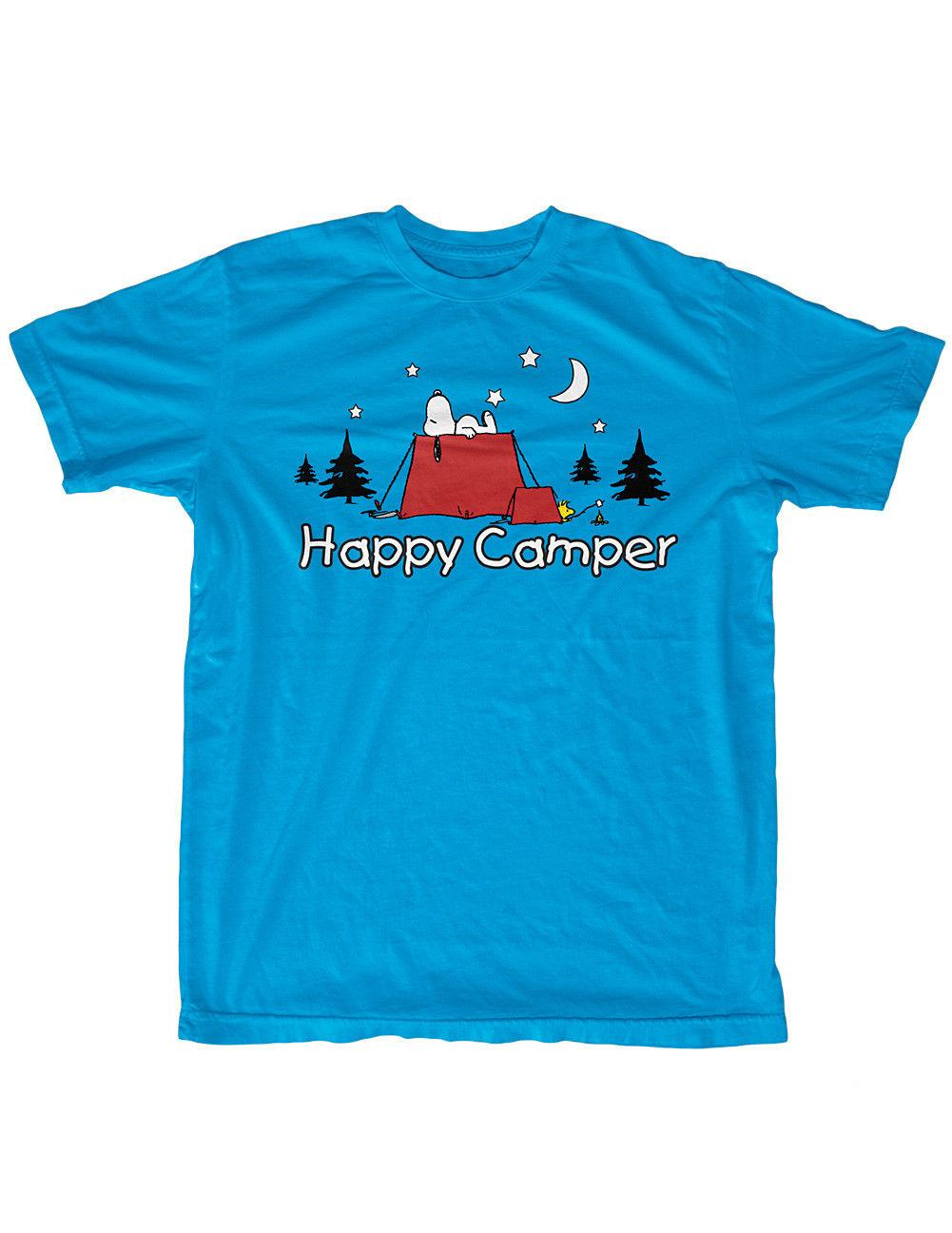 Details zu NEW NWT Snoopy Woodstock Happy Camper T-Shirt - Pup Tent Under  The Stars - XLFunny free shipping Unisex Casual gift