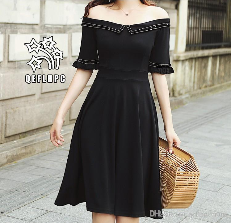 00598712a88 Women's clothes Dress Summer Sexy beach chiffon dress Thin Polyester  material Casual Dresses chambray Longuette Striped black Slash Neck A5
