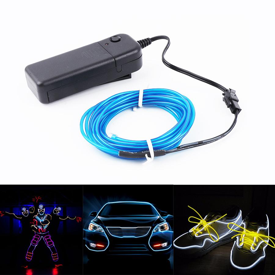 Wire Decoration Tube Waterproof With Strip Party Dance Lamp Light Rope Led 3m Car Flexible Neon El Controller FKJc13lT5u