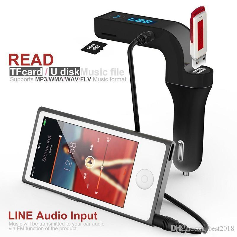 Transmissor FM Bluetooth Sem Fio In-Car Kit Adaptador de Carro FM com Carregador de Carro USB para iPhone, Samsung, LG, HTC Smartphone Android