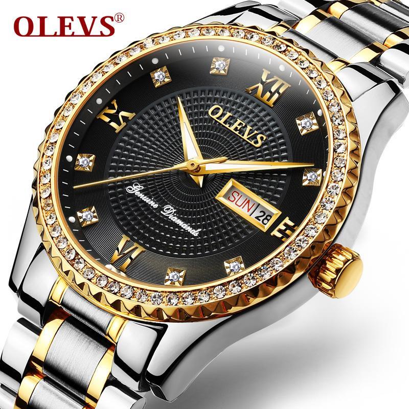 bc8d1870eeba Compre OLEVS Luminoso Reloj De Pulsera De Cuarzo De Los Hombres Reloj  Automático Fecha Calendario Esfera Dorada Impermeable Reloj Masculino Reloj  Banda De ...