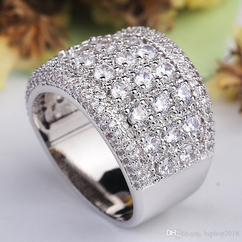 Mens Silver Diamond Stones Anillo Moda de alta calidad Anillos de compromiso de la boda para las mujeres