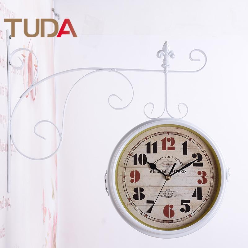Großhandel TUDA Europäischen Doppelseitige Wanduhr Wohnzimmer ...