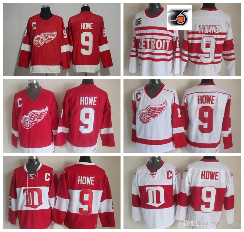 cheap for discount ffb06 cc866 Vintage Detroit Red Wings Gordie Howe Hockey Jersey Mens Classic #9 Gordie  Howe Stitched Shirts 75th Anniversary Patch C Patch