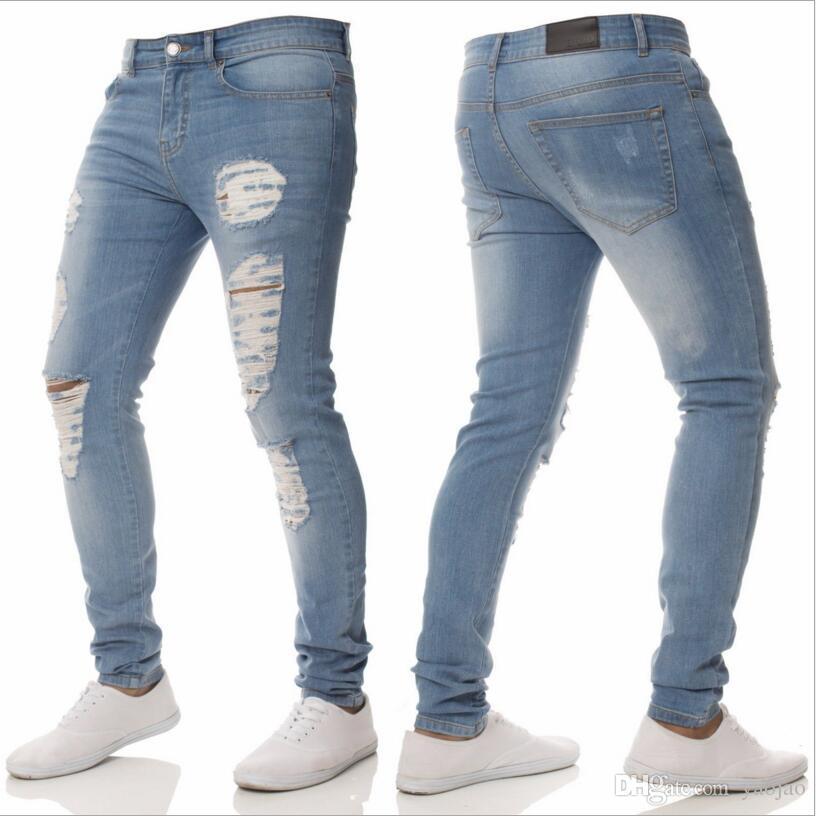 abdfaa61384 2019 Men S Light Blue Skinny Jeans Men Spring Holes Slim Denim Jeans High  Street Style Men Pencil Pants Skinny Jean Pants From Yaojao