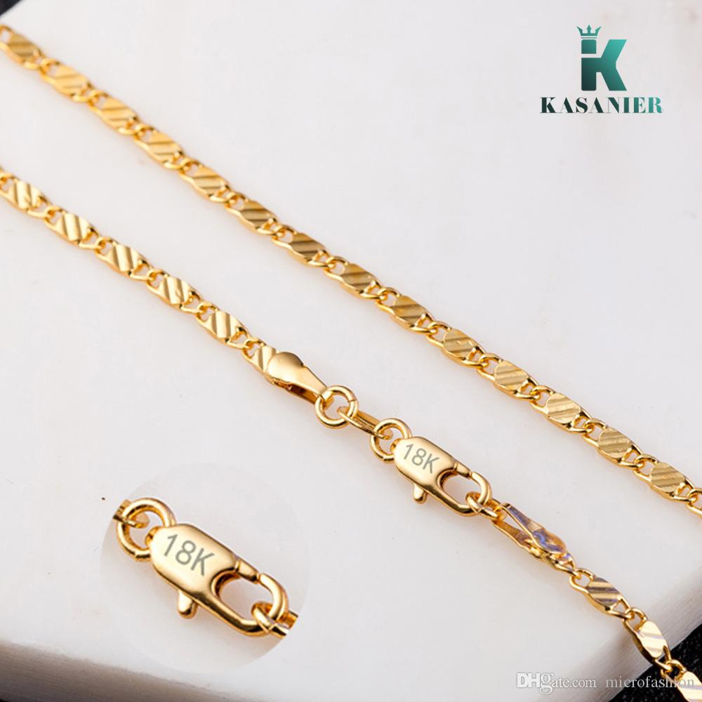 4cc110b5d05 2019 KASANIER Free Delivery Gold And Silver 2MM Width Clavicular Necklace  Women Fashion Jewelry Water Wave Block Stamp Figaro Necklace From  Microfashion, ...