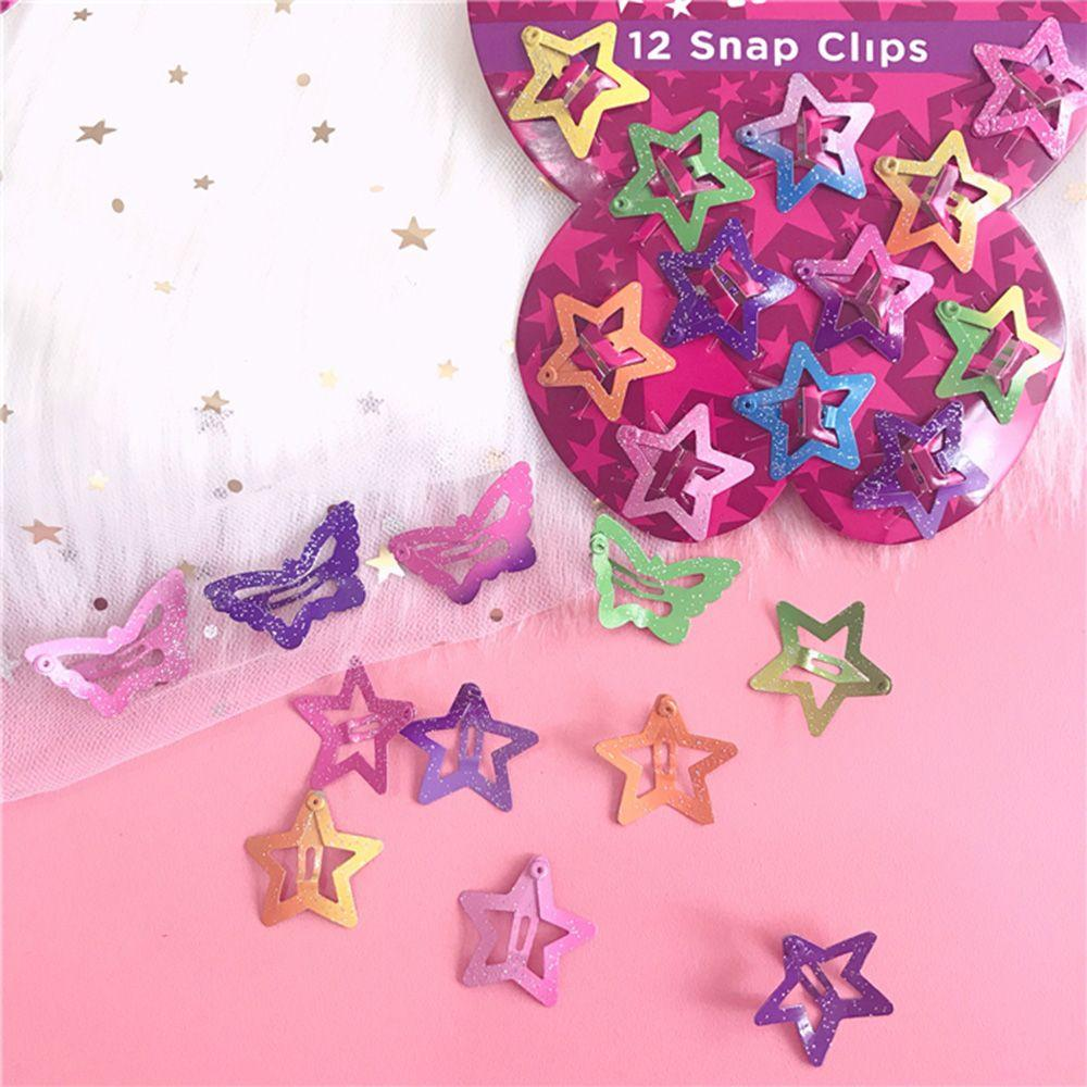New Arrival Hot 2018 Summer 12Pcs Star Butterfly Hair Clips Snaps For Girls Baby Kids Head Accessories Gift