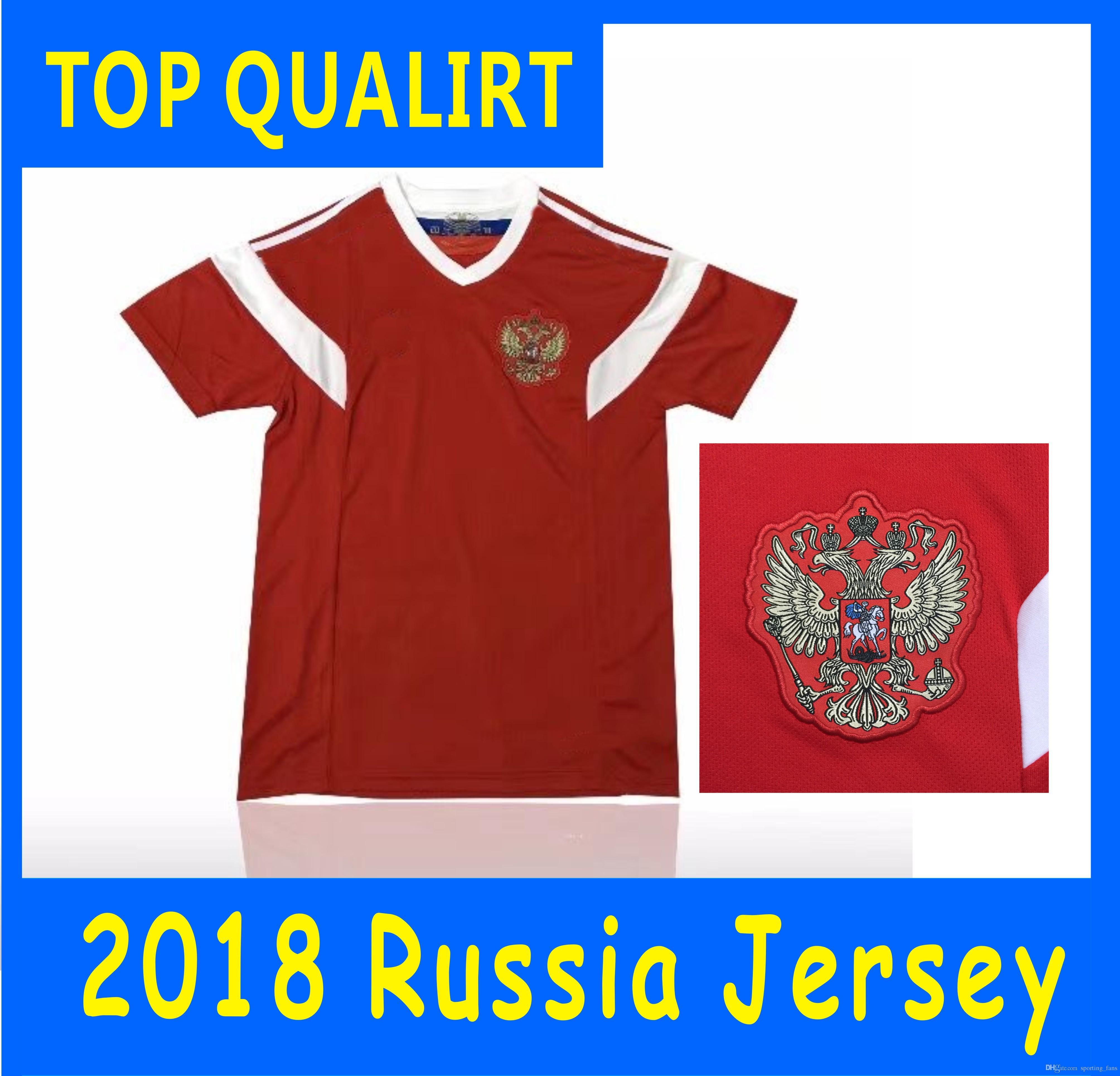 Compre Copa Do Mundo De 2018 Rússia Camisas De Futebol 2018 Copa Do Mundo  Russo Casa Uniforme De Futebol Vermelho   10 DZAGOEV   11 SMOLOV Camisas De  ... e7ca8f8ebcd1c