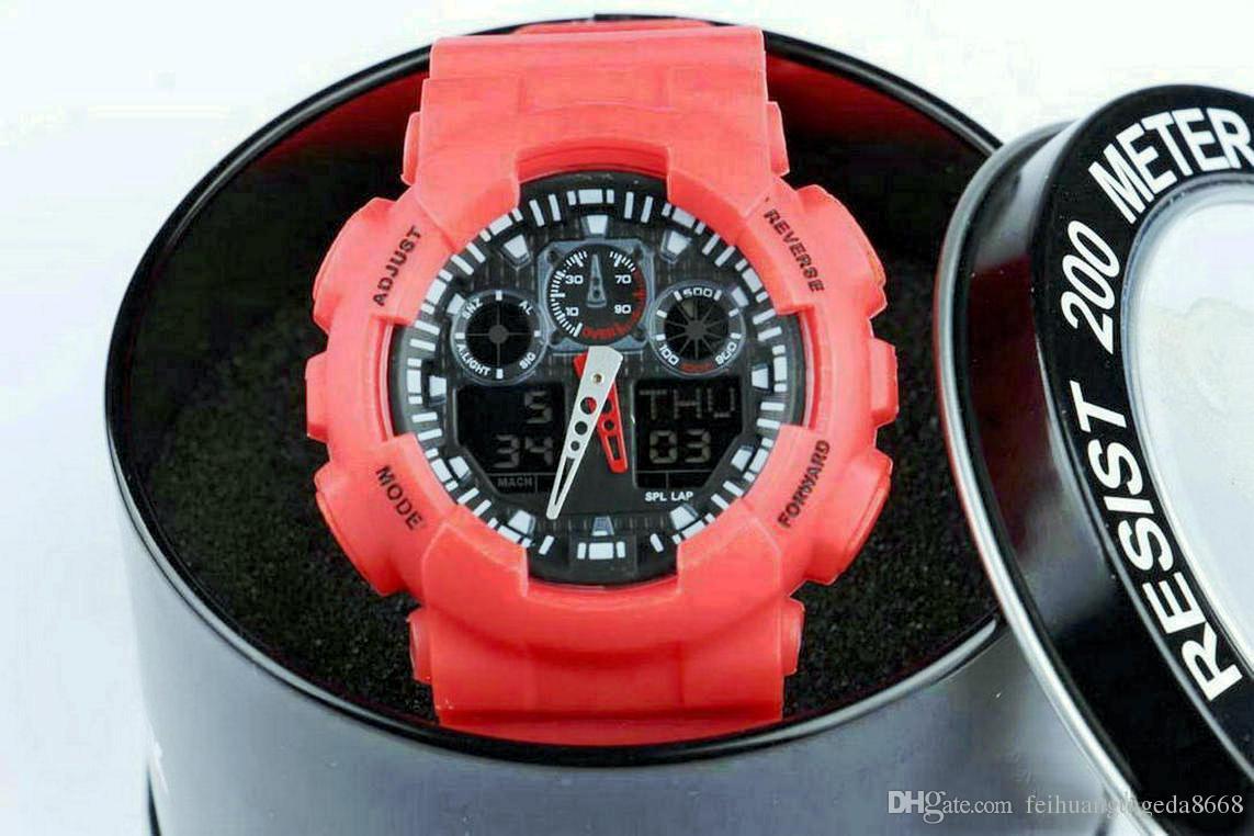 nuovo con scatola rotonda, doppio display sportivo orologio ga100 G nero display led moda esercito militare shocking orologi da uomo casual orologi ca