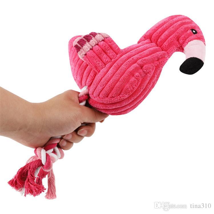 Flamingo Oyuncak Peluş Şekil Köpek Chew Köpek Cızırtılı Ses Oyuncaklar Interaktif Duygular Geliştirmek Pet Malzemeleri Pembe Konuşurken oyuncaklar T1I425