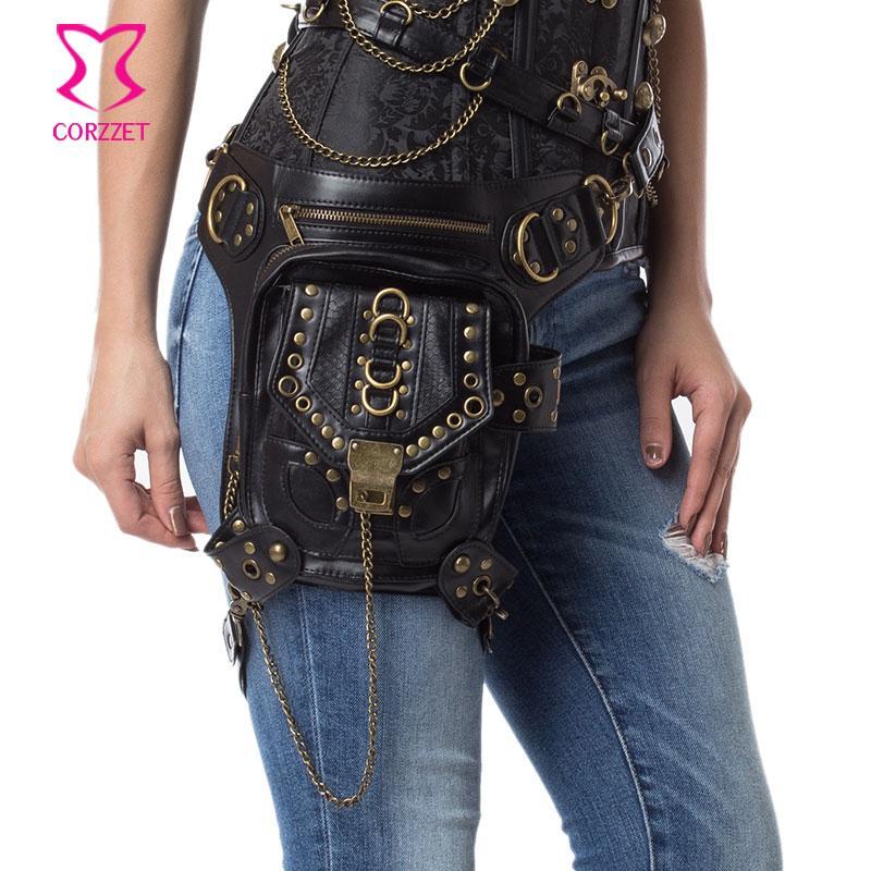 7edcee9d860 Black Rivet PU Leather Vintage Steampunk Waist Bag For Women  Men ...