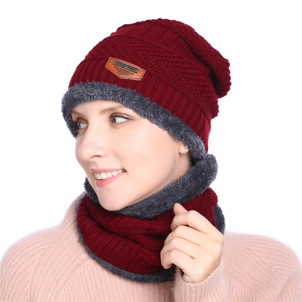 2018 Women Men Winter Hat Knitted Black Hats Fall Hat Ring Thick ... 15270d2a5d96
