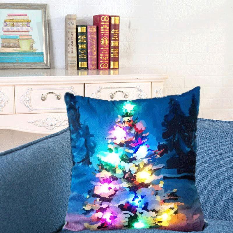 Creación Led Luminoso Funda de Almohada Navidad Papá Noel Reno Funda de Almohada Sofá Car Home Decor Cojín 45 * 45 cm HPC28