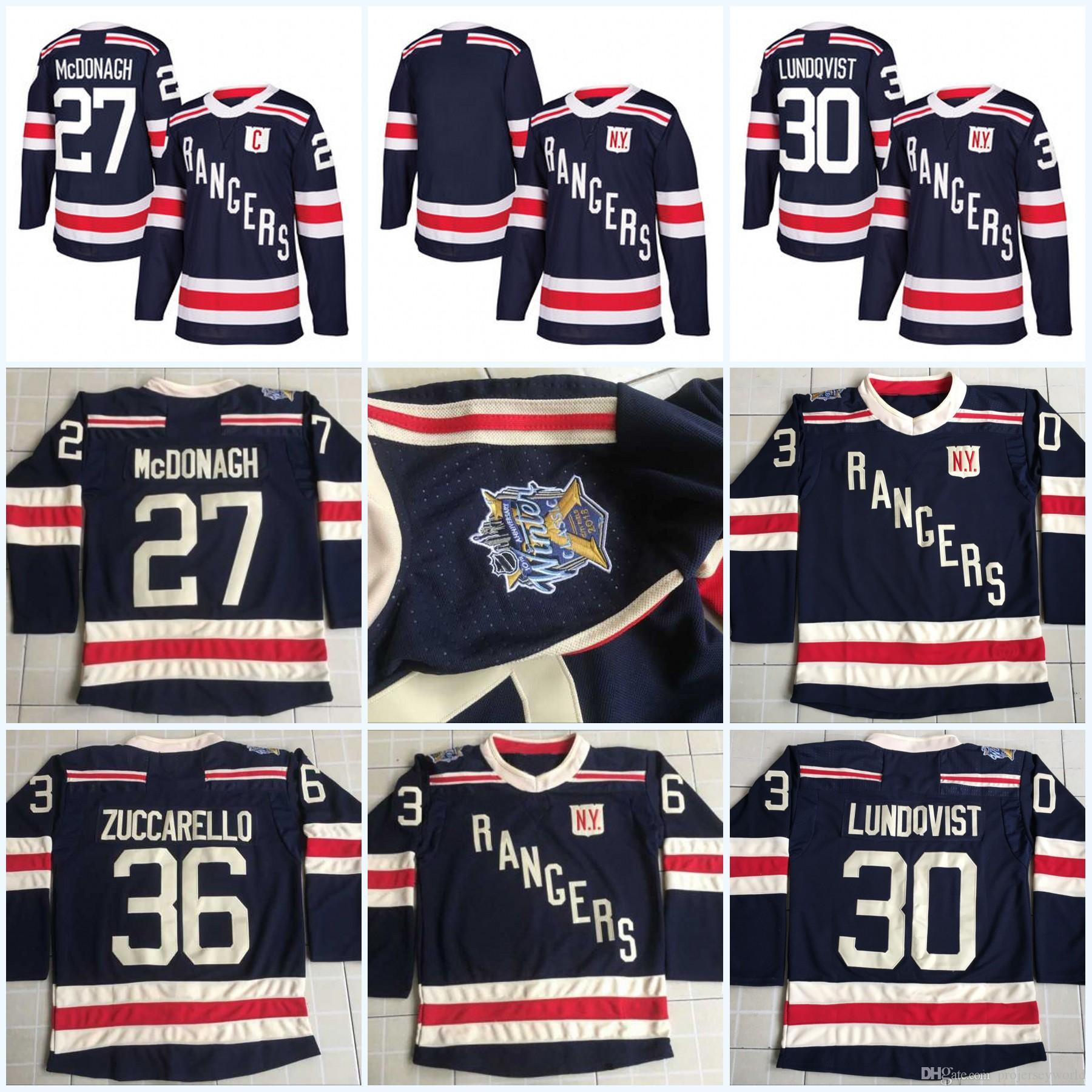 huge discount a7041 d583d Youth 2018 Winter Classic New York Rangers Jerseys 27 Ryan McDonagh 30  Henrik Lundqvist 36 Mats Zuccarello 93 Mika Zibanejad Hockey Jerseys