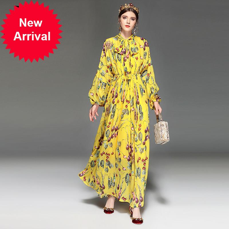 5ed185b64f9ff Runway Designer Maxi Dress Women s Long Sleeve Elegant Bow Collar  Vegetables Floral Print Yellow Long Dress