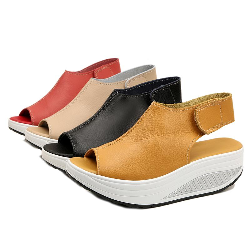 ee6dc07ea92 2018 Summer Sandals Women Shake Shoes Thick Wedges Slope Platform Leather  Shoes Women Sandals Casual Flats Shoe Size 35 43 Gold Wedges Red Wedges  From ...