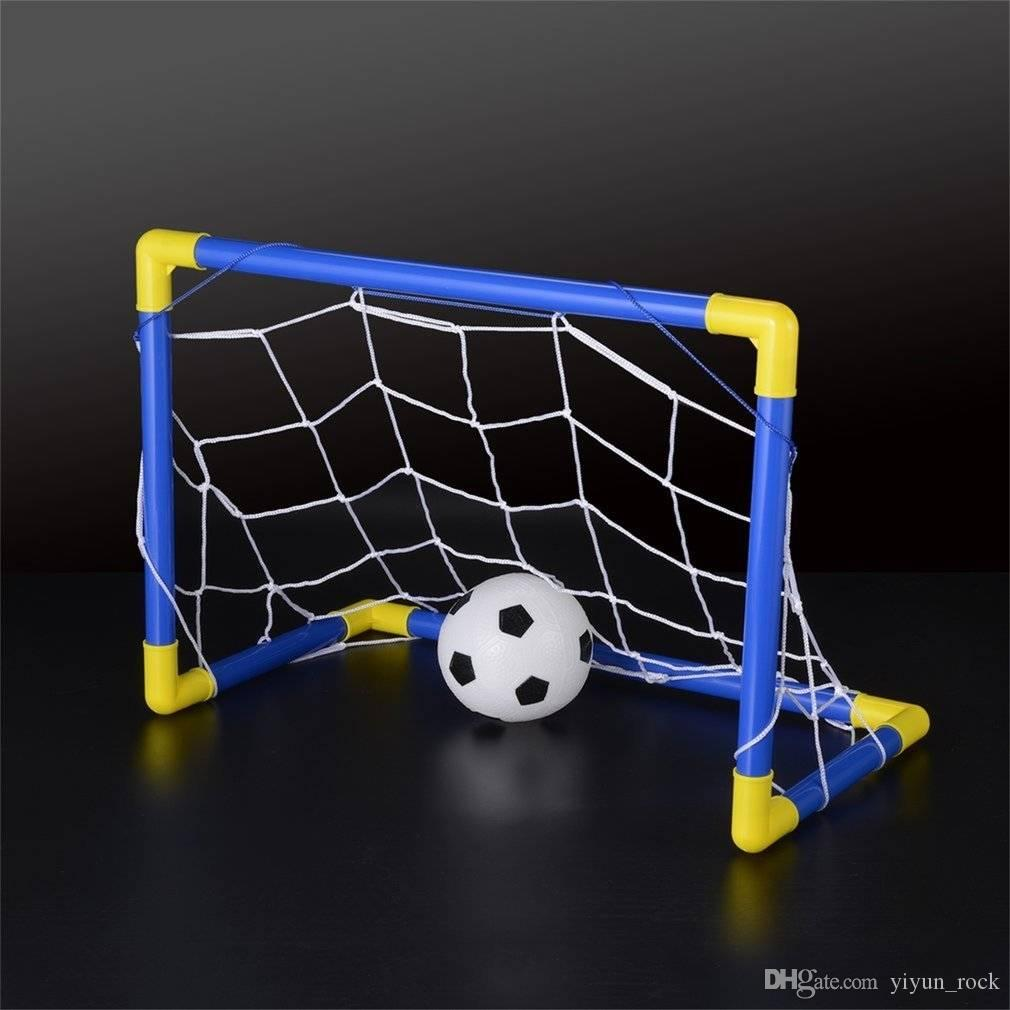 4d083d2a8 free shipping Folding Mini Football Soccer Ball Goal Post Net Set+Pump Kids  Sport Indoor Home Outdoor Game Toy Child Birthday Gift Plastic
