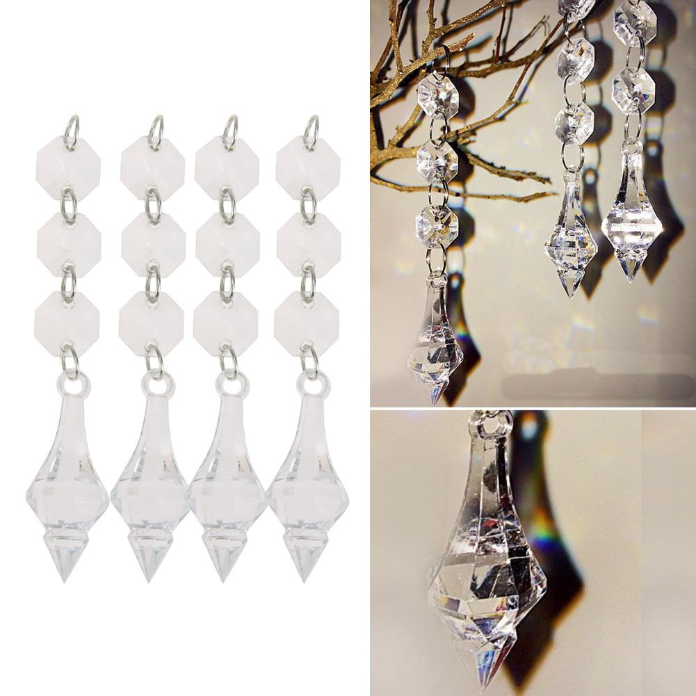 10pcs Crystal Acrylic Octagonal Beads 1Pendant Clear Acrylic Bead Garland Chandelier Hanging For Party Wedding Decoration