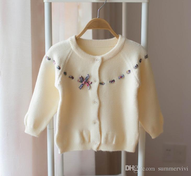 38a6caa39 Autumn New Kids Cardigan Girls Floral Printed Bows Tie Sweater Tops ...