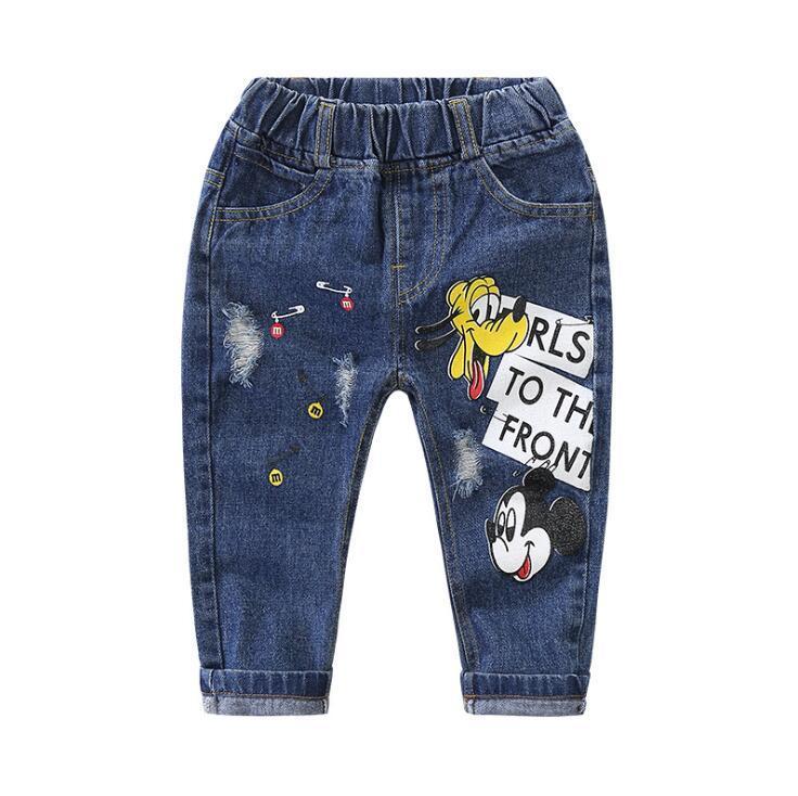 1-5 Anos de 2018 novas Crianças Calças Buraco Quebrado Calças Do Bebê Meninos Meninas Jeans Da Marca de Moda Outono Crianças Calças Crianças roupas