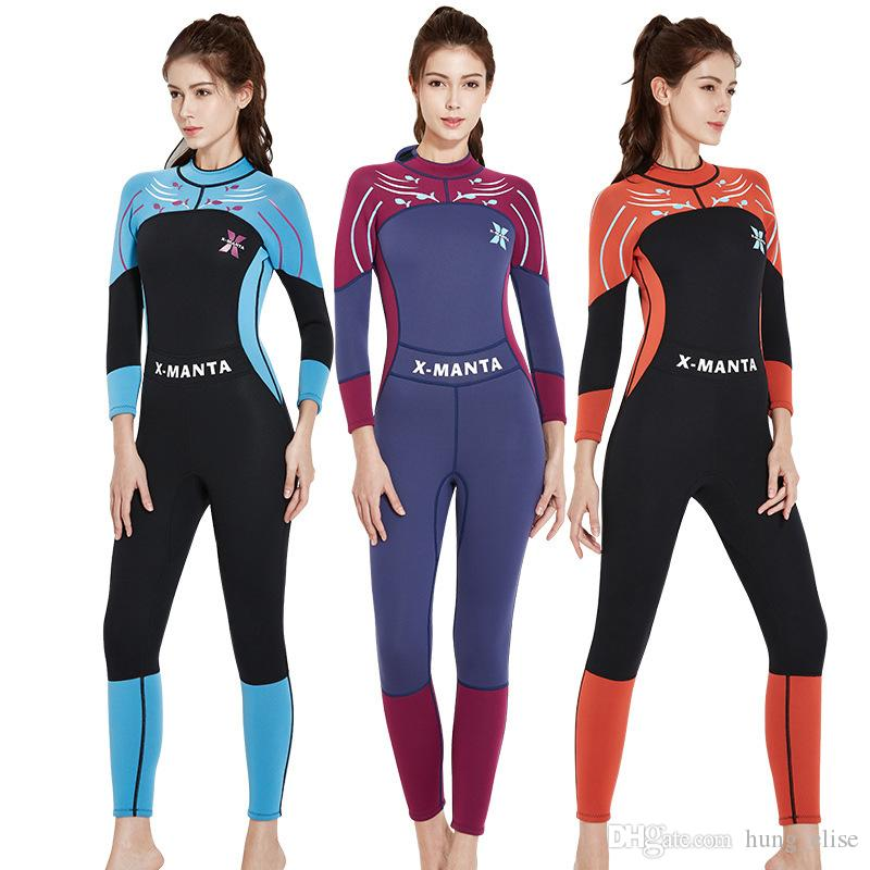 6327b5ec09 2019 New Fashion 3mm Women Neoprene Wetsuit Color Stitching Surf Diving  Equipment Jellyfish Clothing Long Sleeved Wetsuit From Hung elise