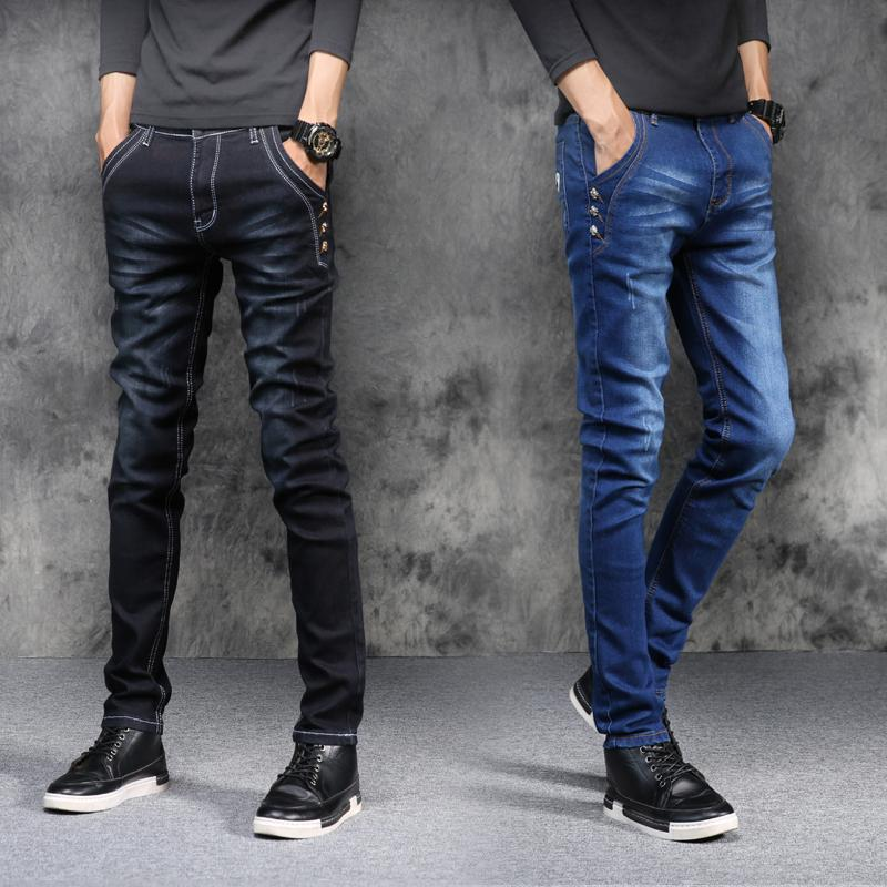 dc3df856b029 2019 Wholesale New Fashion Quality Men S Casual Stretch Skinny Jeans  Trousers Tight Solid Color Men Blue Black Slim Jeans From Huoxiang,  41.37    DHgate.Com
