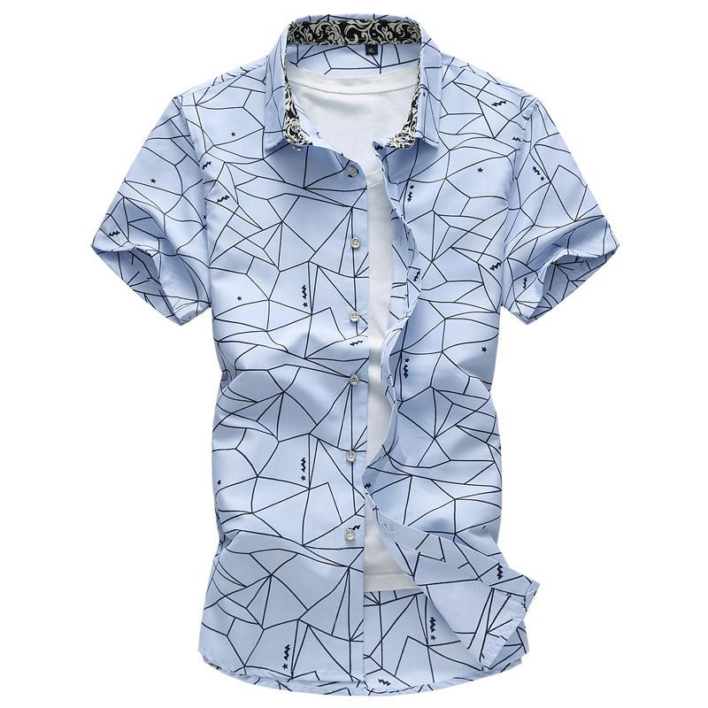 4c2a5f061 Summer New Men Shirt Fashion Plaid Printing Male Casual Short Sleeve Shirt  Large Size Brand Men 'S Clothing 5xl 6xl 7xl