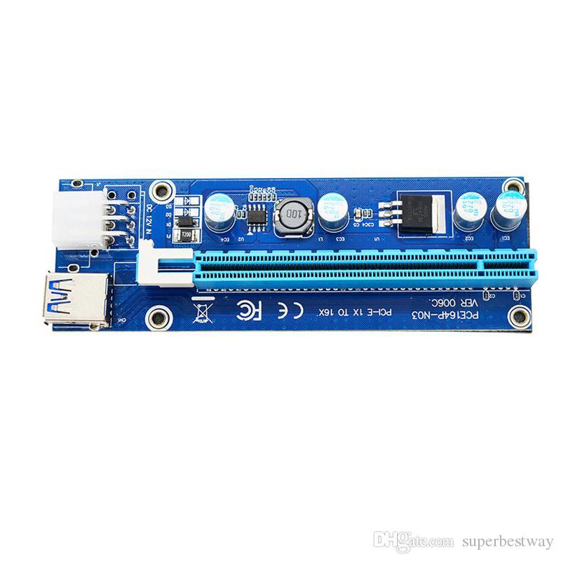 Ver 009S 60cm USB 3.Ie Riserkarte PCI-E Express 1x auf 16x Extender Riserkarte USB Adapter SATA 15Pin-6Pin Power BLAU Rot Schwarz Kabel