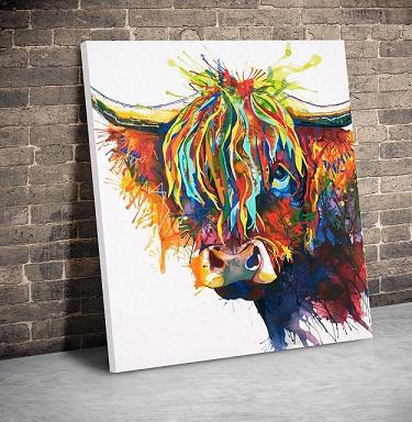Cow Face Abstract Art Animal Nature quality Canvas,Handmade /Print Home Decor Wall Art Oil Painting On Canvas Multi Sizes /Frame Options 143