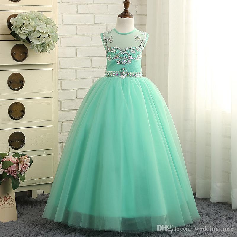 Mint Green Girls Pageant Dresses Princess Puffy Ball Gown Tulle Jewel Crystal Beading kids Prom Dresses Flower Girls Dresses Birthday Gowns