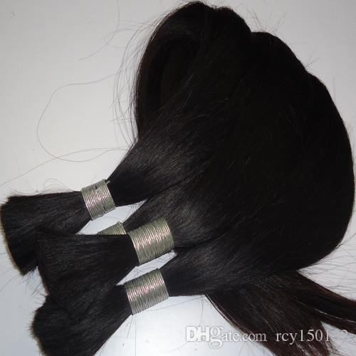 100 그램 브라질 꼬기 머리 대량 씨실 브라질 스트레이트 헤어 대량 꼬기 1 번들 10 26 인치 자연 색상 머리 확장