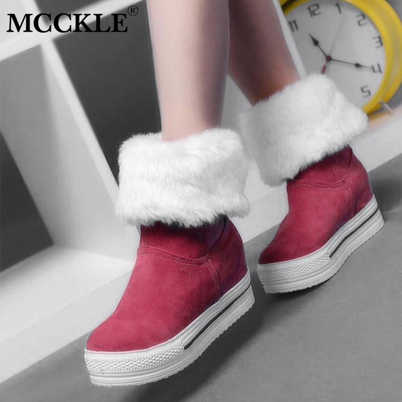 7ea3dd6af MCCKLE Winter Woman Snow Boots Height Increasing Ankle Boot Female Warm  Faux Fur Short Booties Casual Slip On Footwear Office Shoes High Heels From  Edmsaiko ...