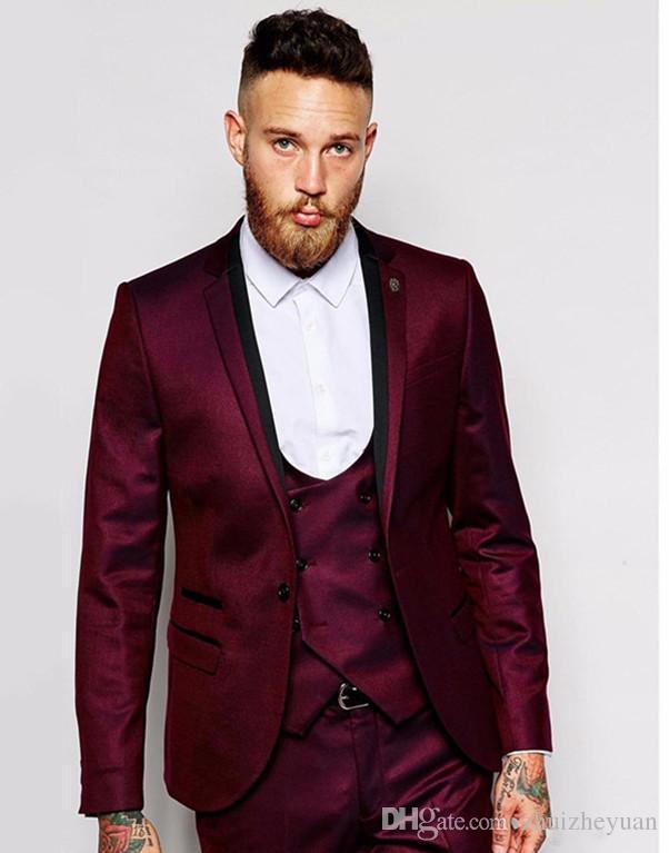 Three Pieces Cheap Burgundy Groomsmen Suits Notch Lapel Groom Tuxedos Men Wedding Suits Cusotm Made Prom Party Suit Jacket+Pants+Vest