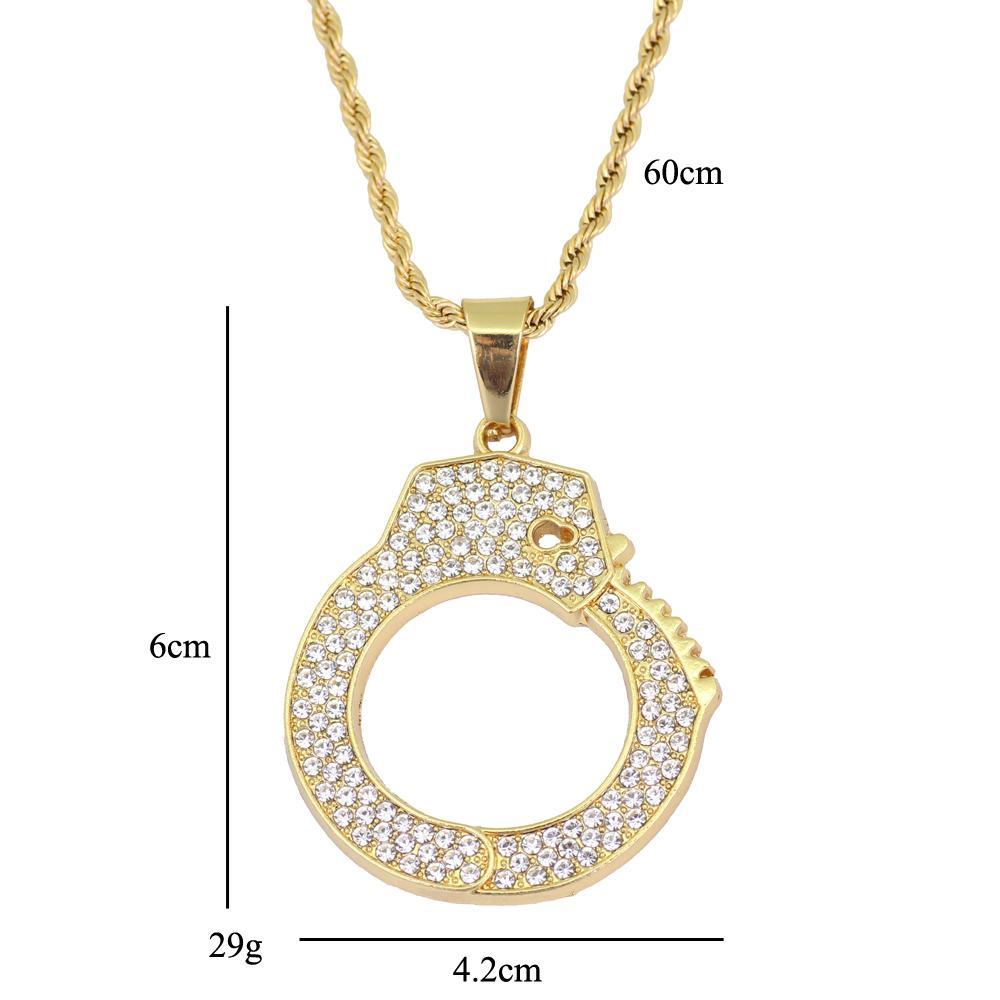 Hip Hop Handcuffs Pendentif Collier Bijoux avec chaîne de corde 24 pouces N889