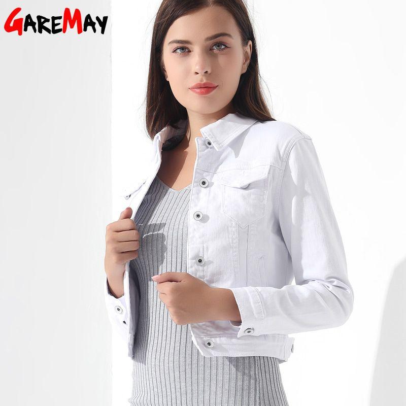 5713bc73d3152 GAREMAY Basic Jeans Jacket Women White Spring Woman Denim Denim Womens Coats  And Jackets Jean Slim Short Coat Jacket Feminina Y18110501 Brown Leather  Jacket ...