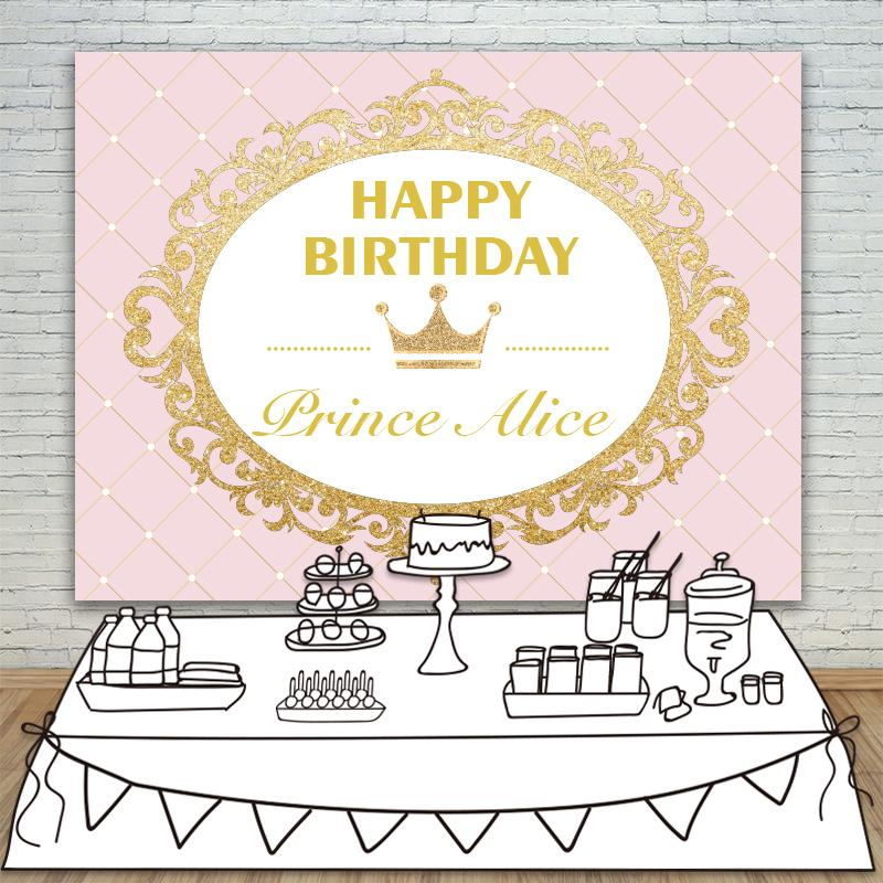 2019 Allenjoy Photography Backdrops Princess Party Pink Gold Glitter Birthday Invitation Celebration Table Dessert Background From Somnuns