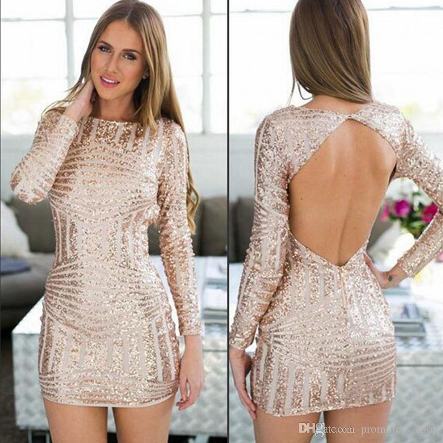 c1def22ae5f Rose Gold Long Sleeve Open Back Sequin Homecoming Dresses Knee Length Fashion  Prom Party Gowns Vestido De Fiesta Custom Short White Homecoming Dress  Amazing ...