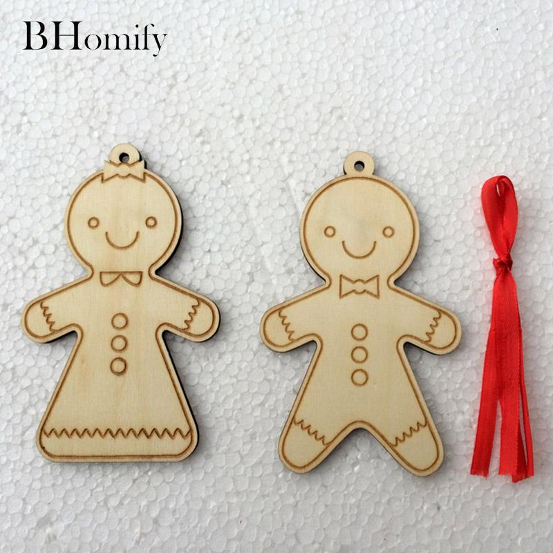 Bhomify 10 Pcs Wooden Christmas Cookies Man Hanging Pendant Christmas Tree On Wooden Cookies Man Ornament Xmas Decors