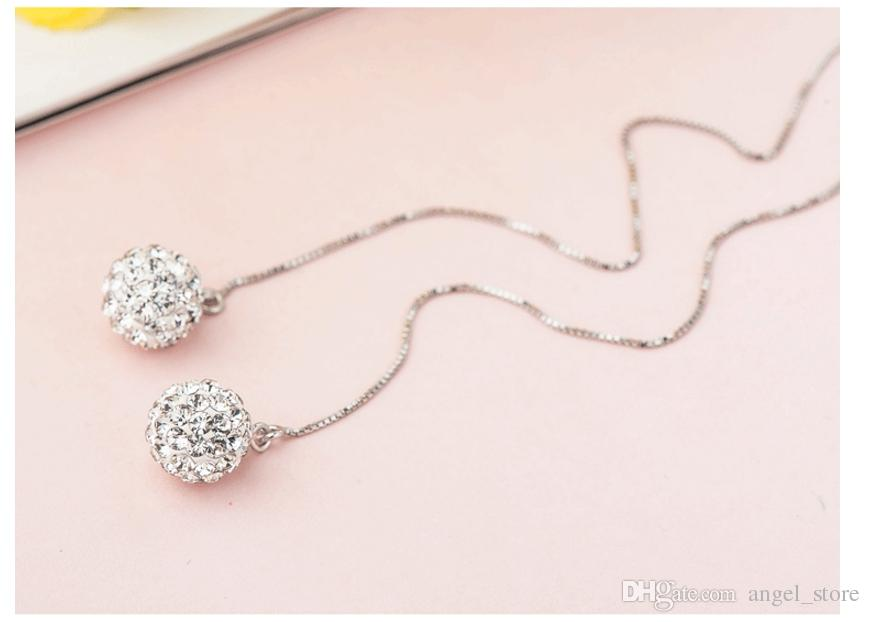 Christmas presents new pure 925 sterling silver rhodium plated 9mm round ball earring long chain jewelry anti-allergic cheap wholesale