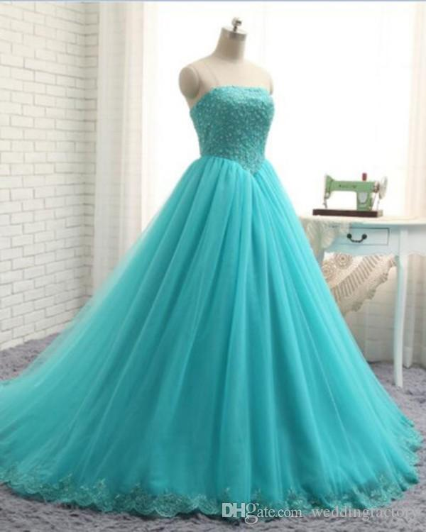 2018 Aqua Blue Plus Size Formal Dresses Strapless Sleeveless Beaded Lace Appliques Tulle Evening Gown Corset Back Quinceanera Prom Dress