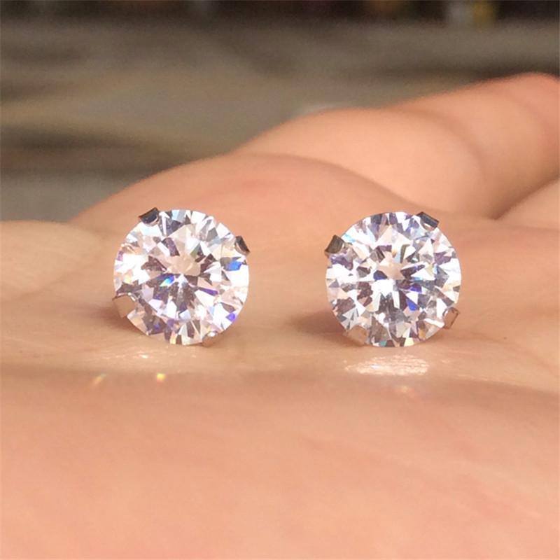 Orecchini in argento sterling 925 genuini le donne tondo CZ Pietre di cristallo Mens piccolo 3 4 5 6 7 millimetri orecchini zirconi cubici