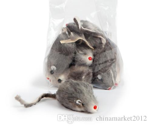 Frete grátis gato de brinquedo real rato de pele de coelho para o gato 5 CM 100 pçs / lote