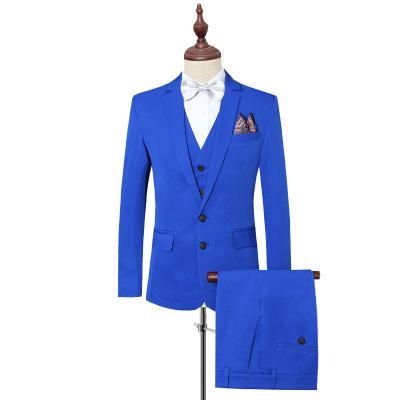 free shipping ce1a7 b75b5 Smoking per uomo Abiti da uomo Casual Slim Fit Abiti uomo con pantaloni  Abito da sposa Tinta unita Royal Blue Nero Plus Size 6XL 2018