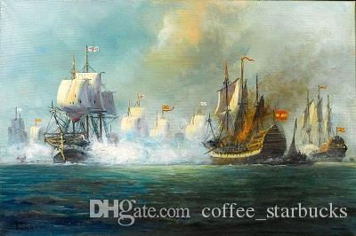big sail boats On Ocean - The Battle of Trafalgar,Perfect Hand-painted Art oil painting On Canvas Multi Sizes Sc048
