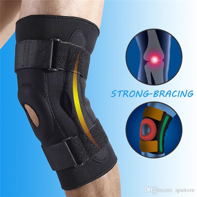 Spuitom Compression Knee Brace, Estabilizador de Patela Aberta com Cintas Ajustáveis para Futebol, Corrida, Corrida, Artrite, Recuperação de Lesões