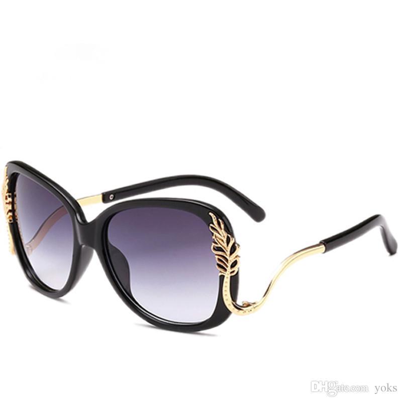 2f0865e953 Yok  Brand Ladies New Fashion Gold Leaf Shield Sunglasses Women Female  Leaves Decrative Sun Glasses Luxury Eyewear W417